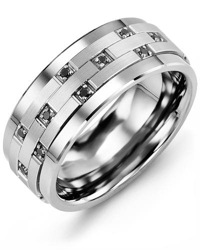 Men's & Women's Tungsten & White Gold + 10 Black Diamonds 0.10ct Wedding Band