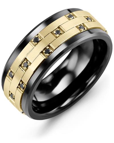 Men's & Women's Black Ceramic & Yellow Gold + 10 Black Diamonds 0.10ct Wedding Band