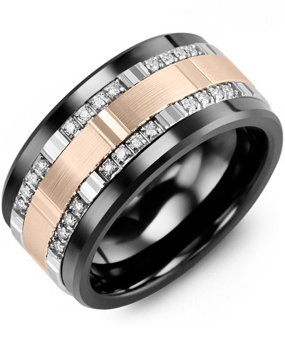 Men's & Women's Black Ceramic & White/Rose Gold + 24 Diamonds tcw. 0.24 Wedding Band 10K 11mm