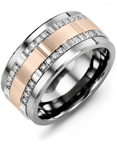 Men's & Women's Cobalt & White/Rose Gold + 24 Diamonds tcw. 0.24 Wedding Band 10K 11mm