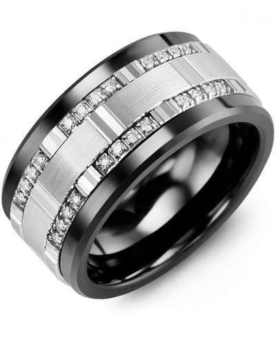 Men's & Women's Black Ceramic & White Gold + 24 Diamonds tcw. 0.24 Wedding Band 10K 11mm