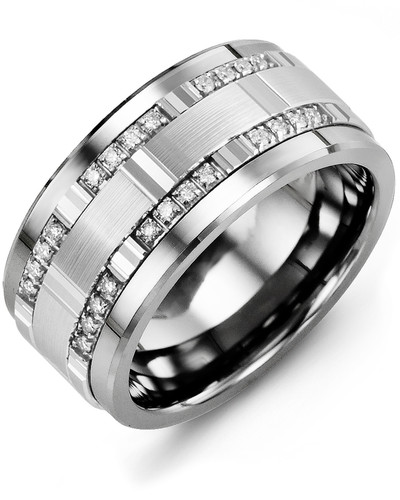 Men's & Women's Cobalt & White Gold + 24 Diamonds tcw. 0.24 Wedding Band from MADANI Rings. Wedding bands, fashion rings, promise rings, made of Tungsten, Ceramic, Cobalt, and Gold. View the collection at madanirings.com