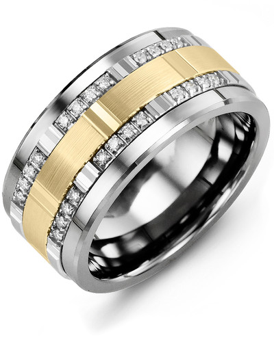 Men's & Women's Cobalt & White/Yellow Gold + 24 Diamonds tcw. 0.24 Wedding Band 10K 11mm