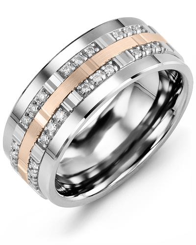 Men's & Women's Cobalt & White/Rose Gold + 24 Diamonds 0.24ct Wedding Band