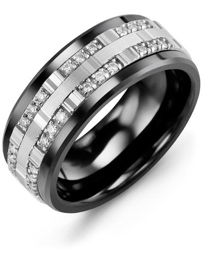 Men's & Women's Black Ceramic & White Gold + 24 Diamonds 0.24ct Wedding Band