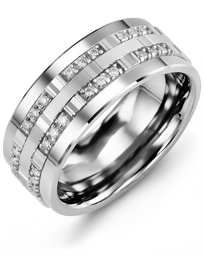 Men's & Women's White Gold & White Gold + 24 Diamonds 0.24ct Wedding Band from MADANI Rings. Wedding bands, fashion rings, promise rings, made of Tungsten, Ceramic, Cobalt, and Gold. View the collection at madanirings.com