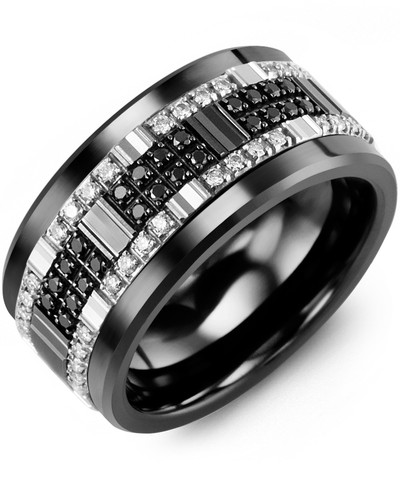 Men's & Women's Black Ceramic & White/Black Gold + 56 White Black Diamonds 0.56ct Wedding Band