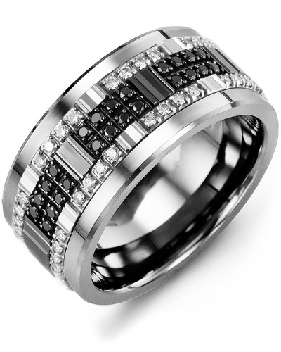 Men's & Women's Cobalt & White/Black Gold + 56 White Black Diamonds 0.56ct Wedding Band