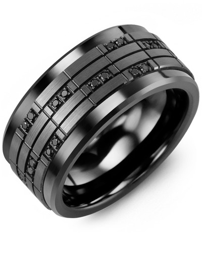 Men's & Women's Black Ceramic & Black Gold + 20 Black Diamonds tcw 0.20 Wedding Band 10K 10mm