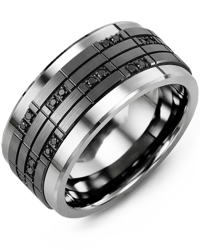 Men's & Women's Tungsten & Black Gold + 20 Black Diamonds 0.20ct Wedding Band