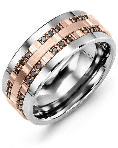 Men's & Women's Tungsten & Rose Gold + 24 Black Diamonds 0.24ct Wedding Band