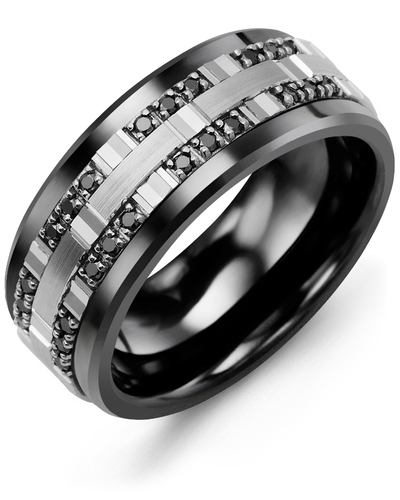 Men's & Women's Black Ceramic & White Gold + 24 Black Diamonds 0.24ct Wedding Band
