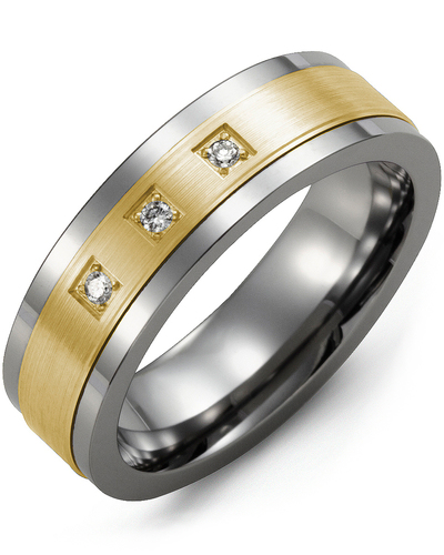 Men's & Women's Tungsten & Yellow Gold + 3 Diamonds 0.06ct Wedding Band