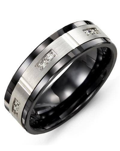 Men's & Women's Black Ceramic & White Gold + 6 Diamonds tcw 0.12 Wedding Band 10K 10mm