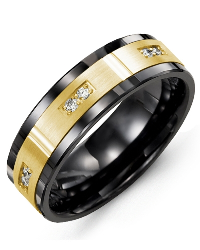 Men's & Women's Black Ceramic & Yellow Gold + 6 Diamonds tcw 0.12 Wedding Band 10K 10mm