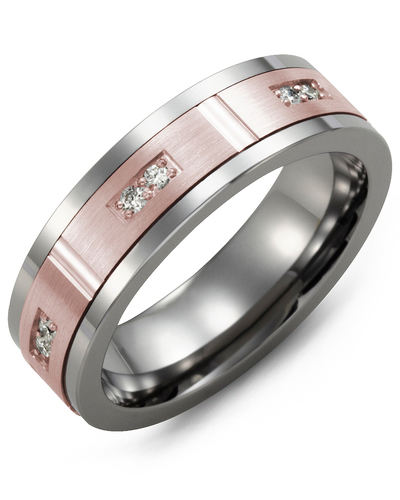 Men's & Women's Tungsten & Rose Gold + 6 Diamonds 0.12ct Wedding Band