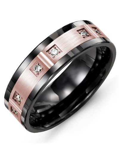 Men's & Women's Black Ceramic & Rose Gold + 6 Diamonds tcw 0.12 Wedding Band 10K 10mm