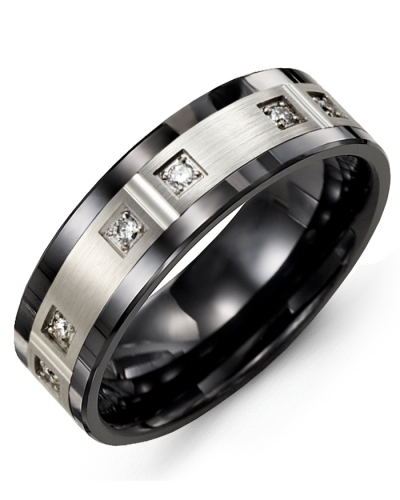 Men's & Women's Black Ceramic & White Gold + 6 Diamonds 0.12ct Wedding Band