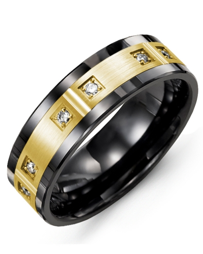 Men's & Women's Black Ceramic & Yellow Gold + 6 Diamonds 0.12ct Wedding Band