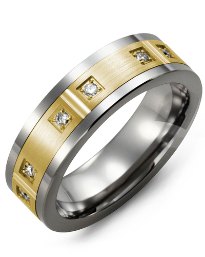Men's & Women's Tungsten & Yellow Gold + 6 Diamonds 0.12ct Wedding Band from MADANI Rings. Wedding bands, fashion rings, promise rings, made of Tungsten, Ceramic, Cobalt, and Gold. View the collection at madanirings.com