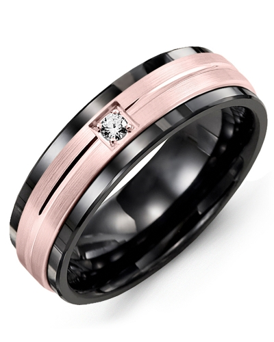 Men's & Women's Black Ceramic & Rose Gold + 1 Diamond 0.05ct Wedding Band