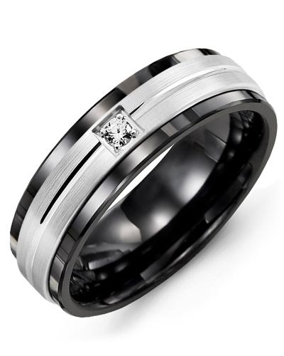 Men's & Women's Black Ceramic & White Gold + 1 Diamond tcw 0.05 Wedding Band