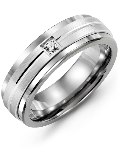 Men's & Women's Cobalt & White Gold + 1 Diamond tcw 0.05 Wedding Band from MADANI Rings. Wedding bands, fashion rings, promise rings, made of Tungsten, Ceramic, Cobalt, and Gold. View the collection at madanirings.com