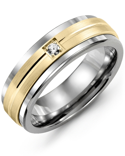 Men's & Women's Cobalt & Yellow Gold + 1 Diamond 0.05ct Wedding Band