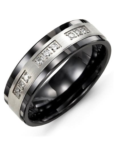 Men's & Women's Black Ceramic & White Gold + 9 Diamonds tcw 0.18 Wedding Band