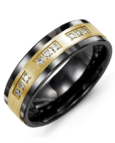 Men's & Women's Black Ceramic & Yellow Gold + 9 Diamonds tcw 0.18 Wedding Band