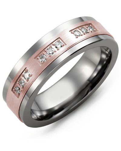 Men's & Women's Cobalt & Rose Gold + 9 Diamonds 0.18ct Wedding Band