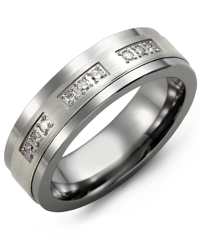 Men's & Women's Cobalt & White Gold + 9 Diamonds 0.18ct Wedding Band