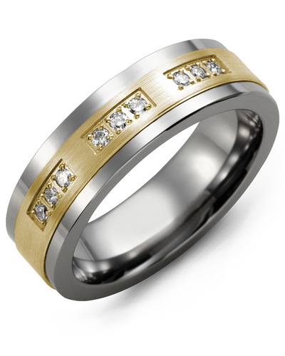 Men's & Women's Cobalt & Yellow Gold + 9 Diamonds 0.18ct Wedding Band
