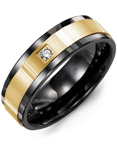 Men's & Women's Black Ceramic & Yellow Gold + 1 Diamond 0.05ct Wedding Band