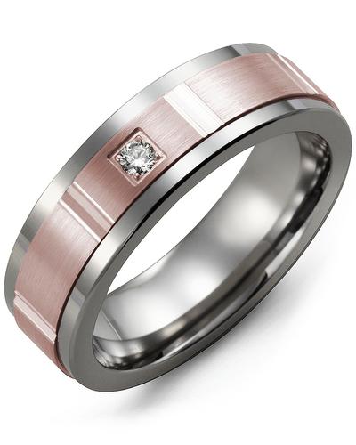 Men's & Women's Cobalt & Rose Gold + 1 Diamond 0.05ct Wedding Band