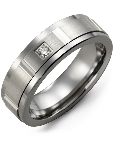 Men's & Women's Cobalt & White Gold + 1 Diamond 0.05ct Wedding Band