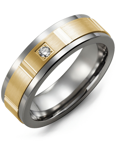 Men's & Women's Cobalt & Yellow Gold + 1 Diamond 0.05ct Wedding Band