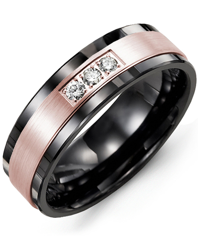 Men's & Women's Black Ceramic & Rose Gold + 3 Diamonds 0.06ct Wedding Band