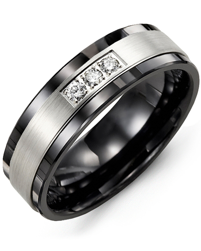 Men's & Women's Black Ceramic & White Gold + 3 Diamonds 0.06ct Wedding Band