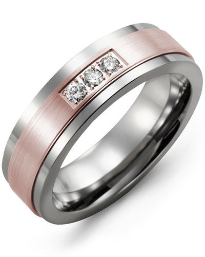Men's & Women's Tungsten & Rose Gold + 3 Diamonds 0.06ct Wedding Band