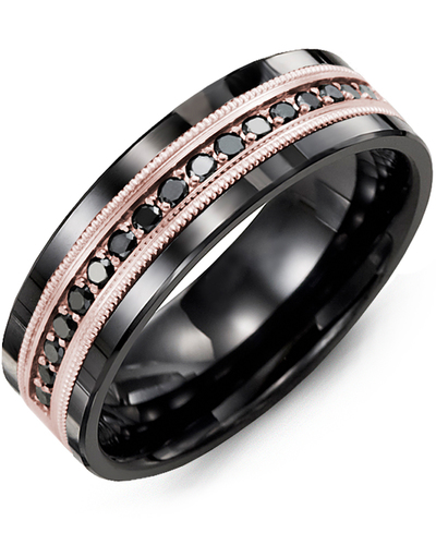 Men's & Women's Black Ceramic & Rose Gold + 17 Black Diamonds 0.34ct Wedding Band