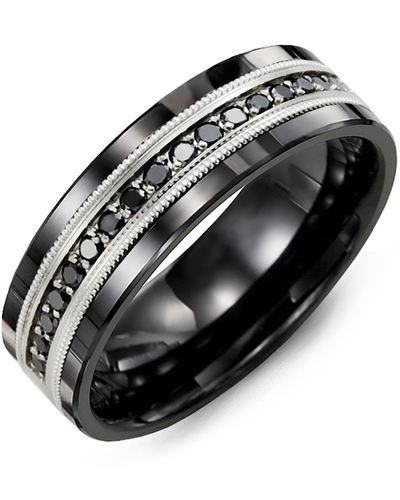 Men's & Women's Black Ceramic & White Gold + 9 Black Diamonds 0.18ct Wedding Band
