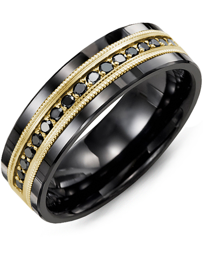 Men's & Women's Black Ceramic & Yellow Gold + 9 Black Diamonds 0.18ct Wedding Band
