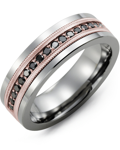 Men's & Women's Tungsten & Rose Gold + 9 Black Diamonds 0.18ct Wedding Band