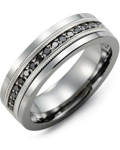 Men's & Women's Tungsten & White Gold + 9 Black Diamonds 0.18ct Wedding Band