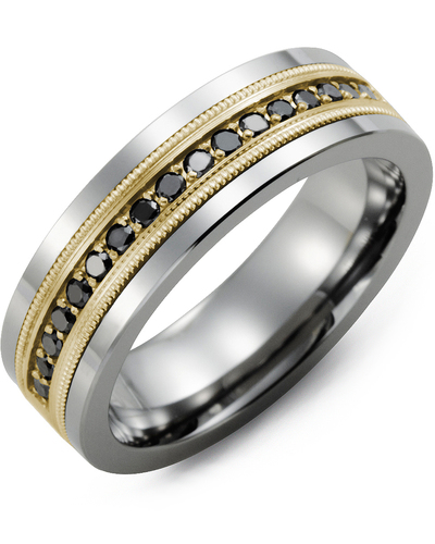 Men's & Women's Tungsten & Yellow Gold + 9 Black Diamonds 0.18ct Wedding Band from MADANI Rings. Wedding bands, fashion rings, promise rings, made of Tungsten, Ceramic, Cobalt, and Gold. View the collection at madanirings.com