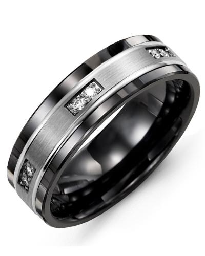 Men's & Women's Black Ceramic & White Gold + 6 Diamonds tcw 0.12 Wedding Band 10K 7mm