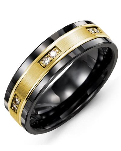 Men's & Women's Black Ceramic & Yellow Gold + 6 Diamonds tcw 0.12 Wedding Band 10K 7mm