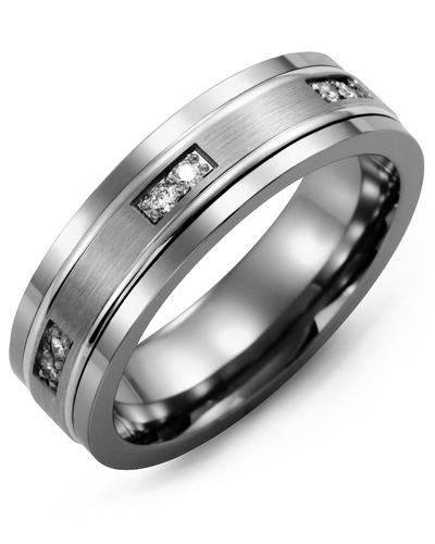 Men's & Women's Tungsten & White Gold + 6 Diamonds 0.12ct Wedding Band