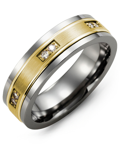 Men's & Women's Tungsten & Yellow Gold + 6 Diamonds 0.12ct Wedding Band